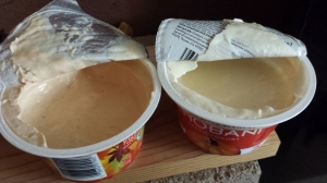 Opened yogurt.